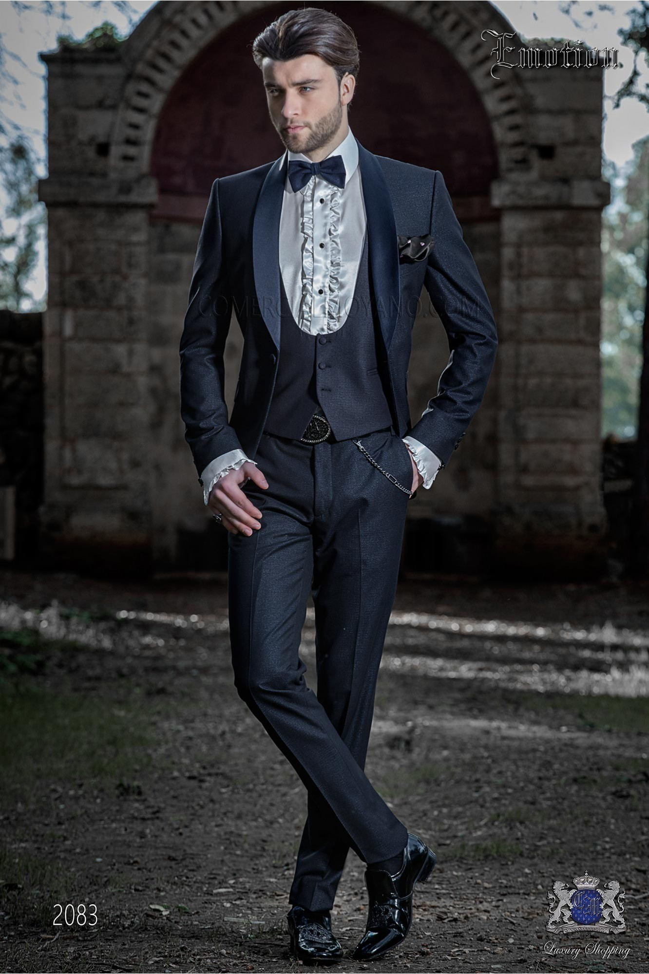 Bespoke Italian fashion tuxedo shiny dark blue