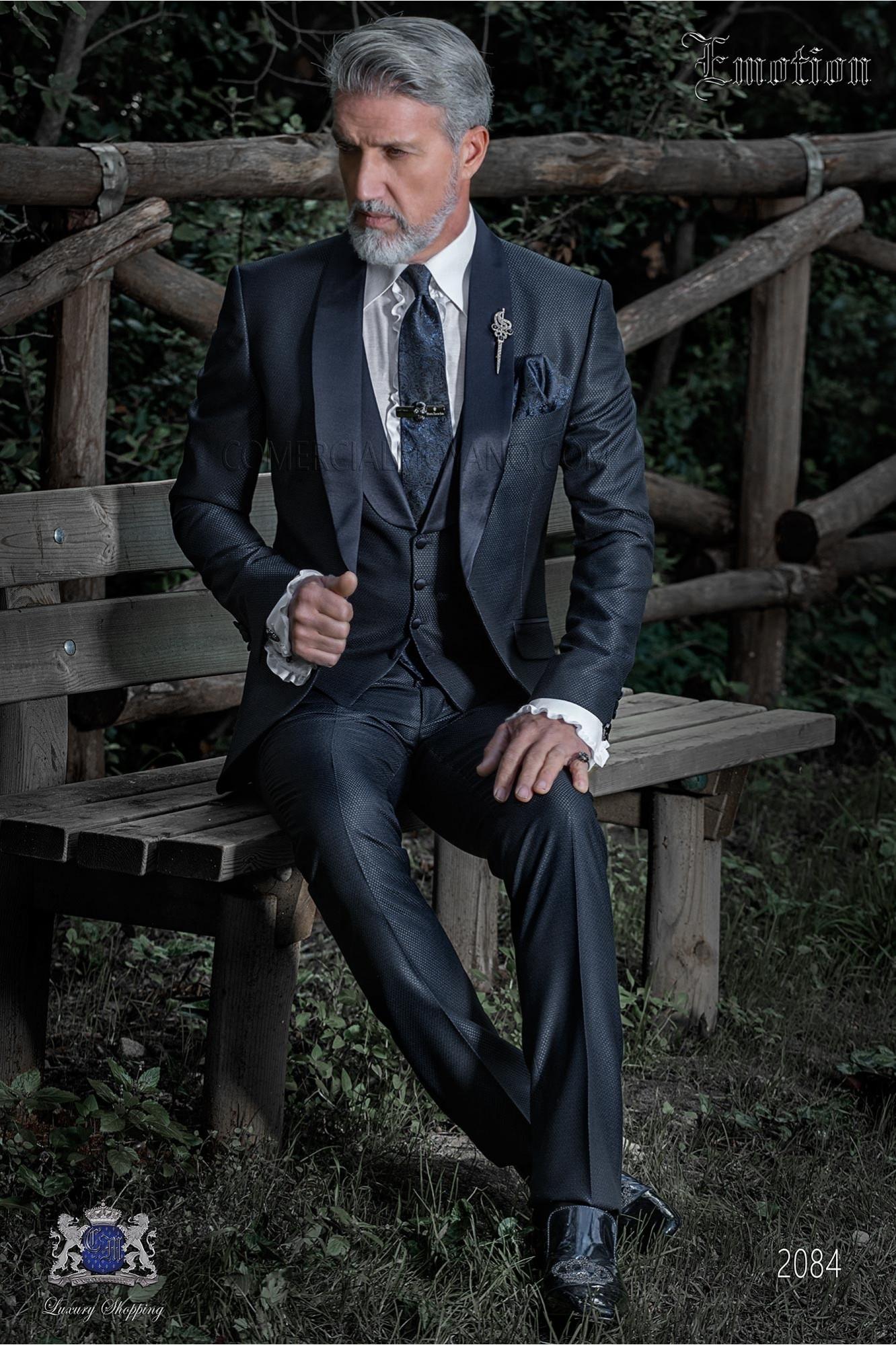 Italian bespoke blue tuxedo with satin shawl collar