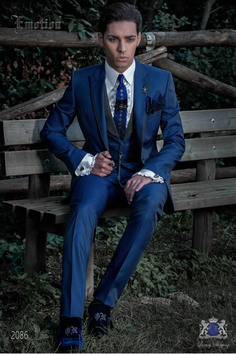 Italian fashion bespoke suit royal blue micro design
