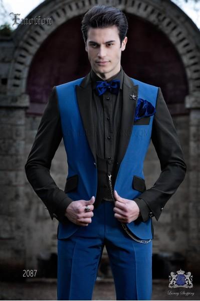 Traje de novio patchwork azul eléctrico y negro. Tejido mixto lana.