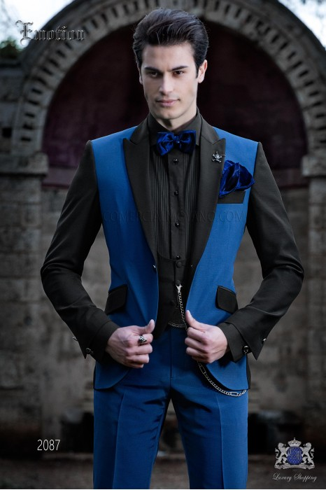 Italian patchwork suit electric blue and black. Wool mix fabric.
