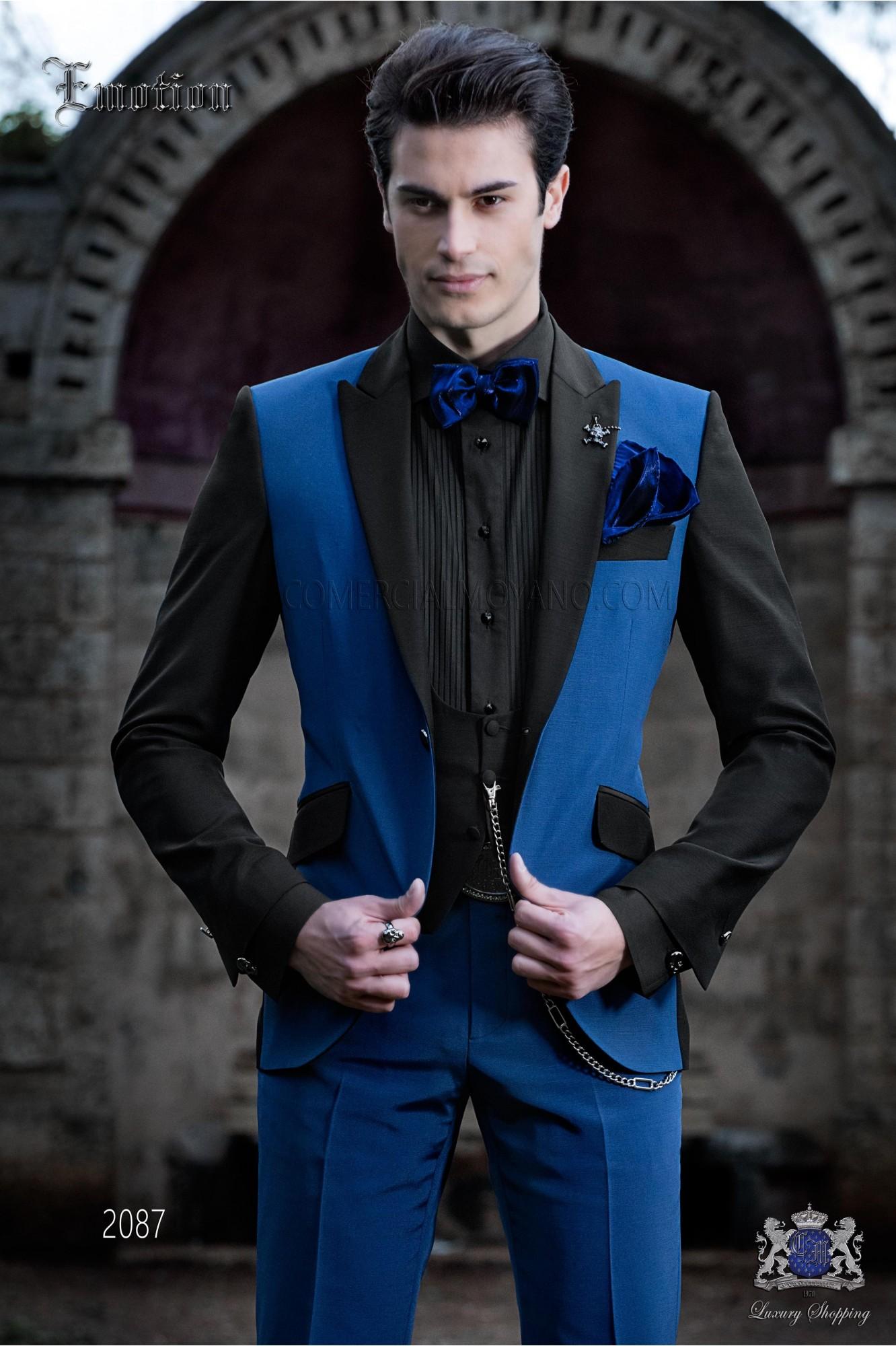 Traje de novio patchwork azul eléctrico y negro. Tejido mixto lana