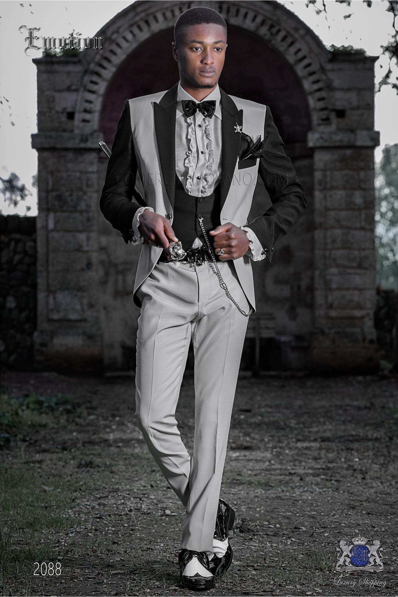 Italian patchwork suit pearl grey and black. Wool mix fabric