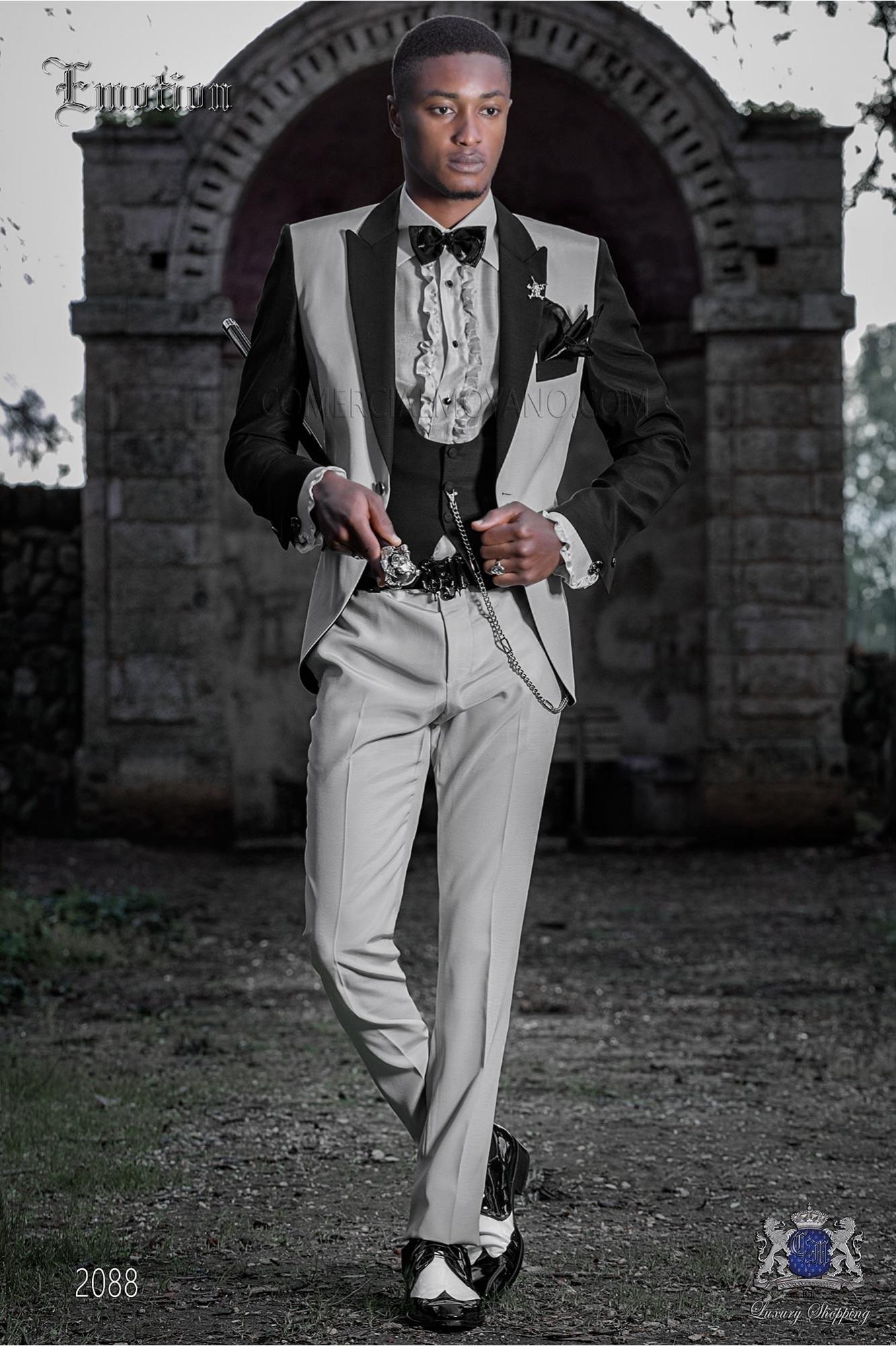 Traje de novio patchwork gris perla y negro. Tejido mixto lana