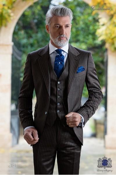Italian bespoke brown pinstripe groom suit