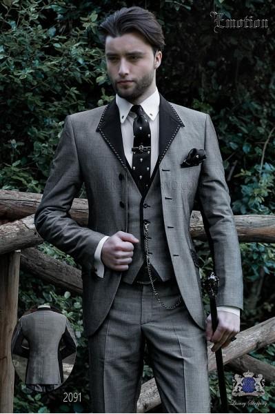 Italian gray patchwork fashion suit