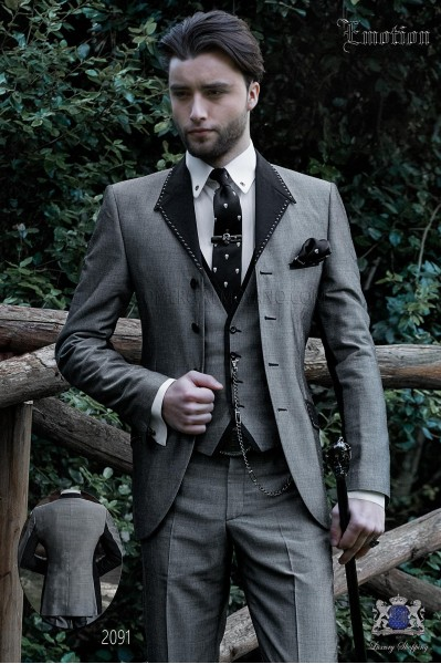 Italian gray patchwork fashion suit