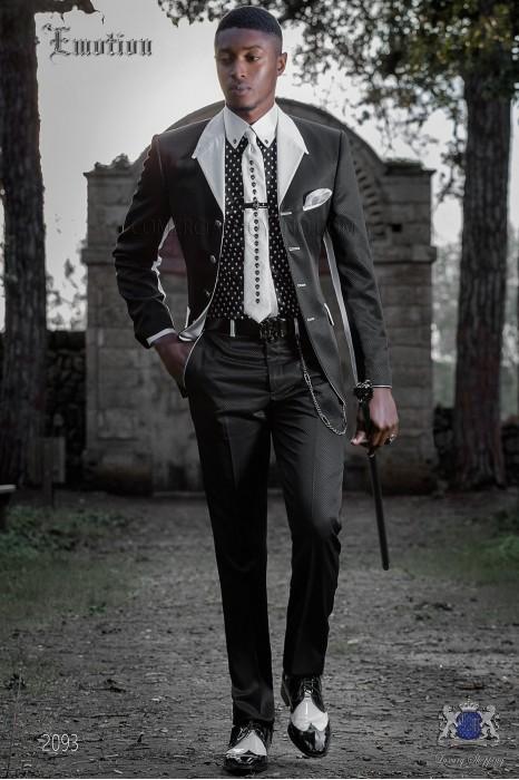 Fashion italian bespoke suit black with withe lapel