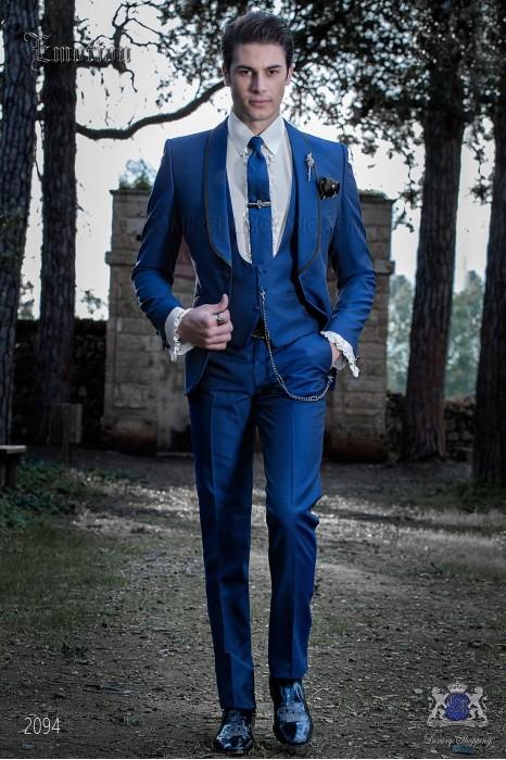 Italian fashion tuxedo electric blue polka dots microdesign. Wool mix fabric.