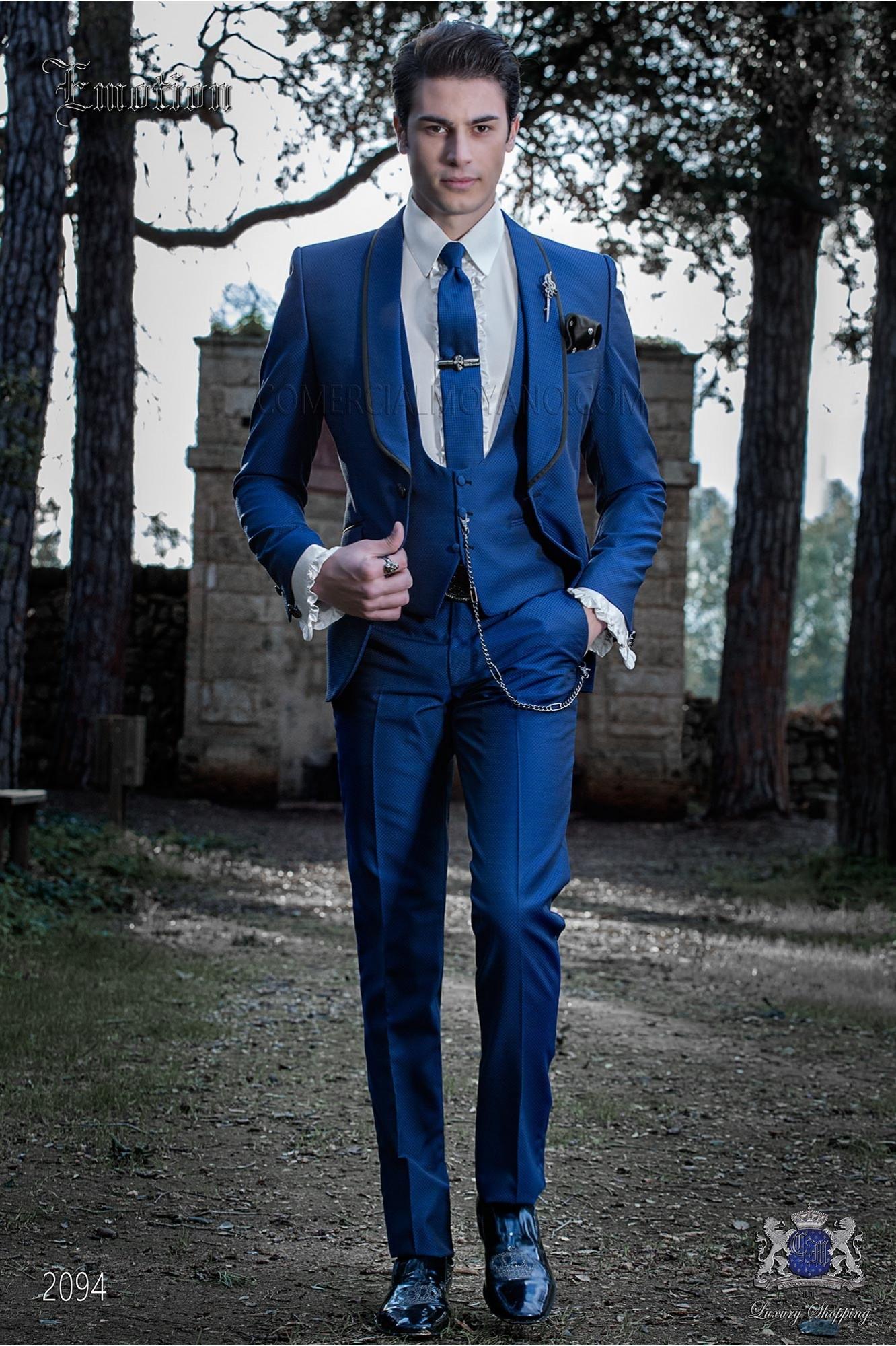 Italian fashion tuxedo electric blue polka dots microdesign. Wool mix fabric