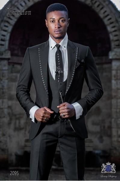 Traje de moda italiano negro tejido New performance