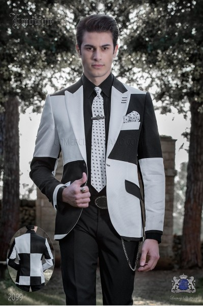Patchwork jacket black and white. Wool mix fabric.