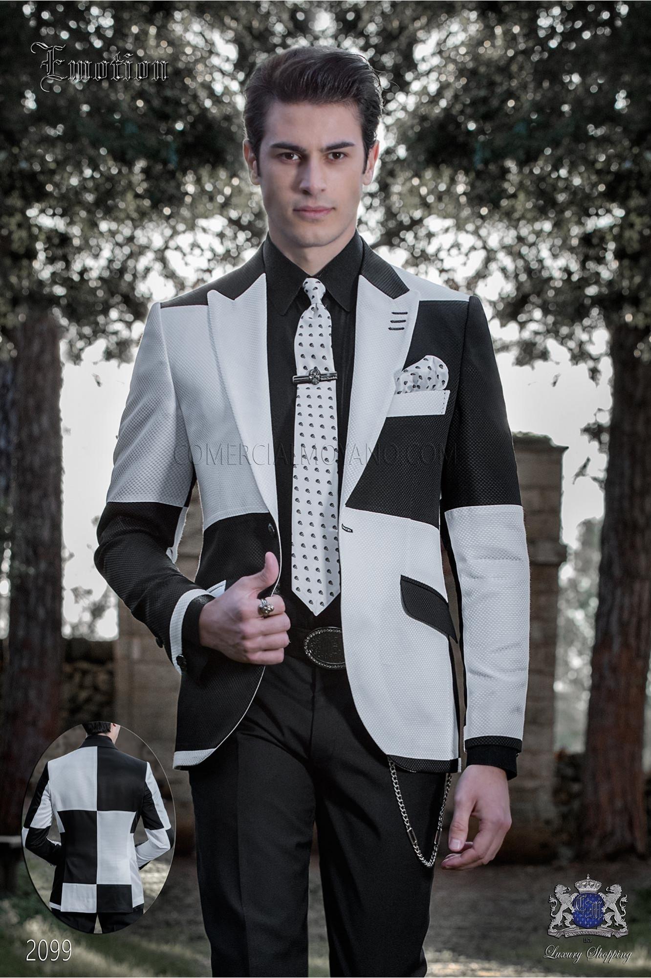 Chaqueta Patchwork blanco y negro. Tejido mixto lana
