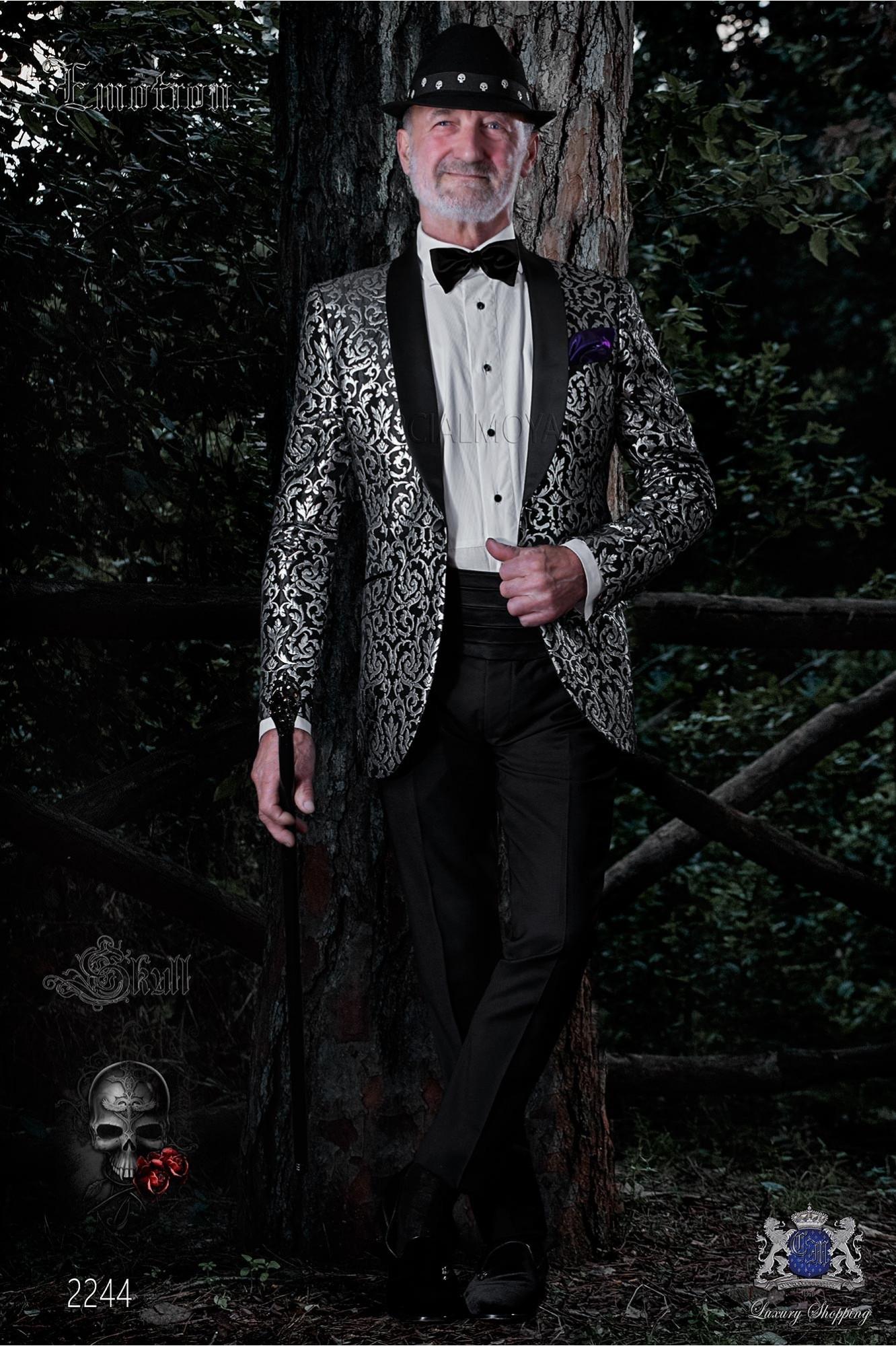 Chaqueta de moda coreana gótica brocada negra y plata