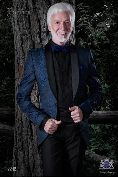 Chaqueta de moda italiana brocado negro/azul