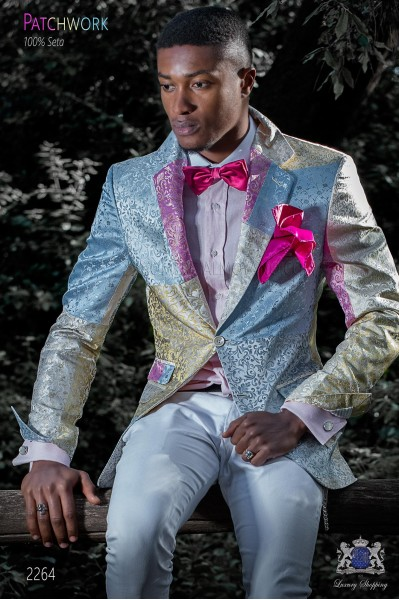 Italian patchwork blazer made of pure jacquard silk pastel colors.