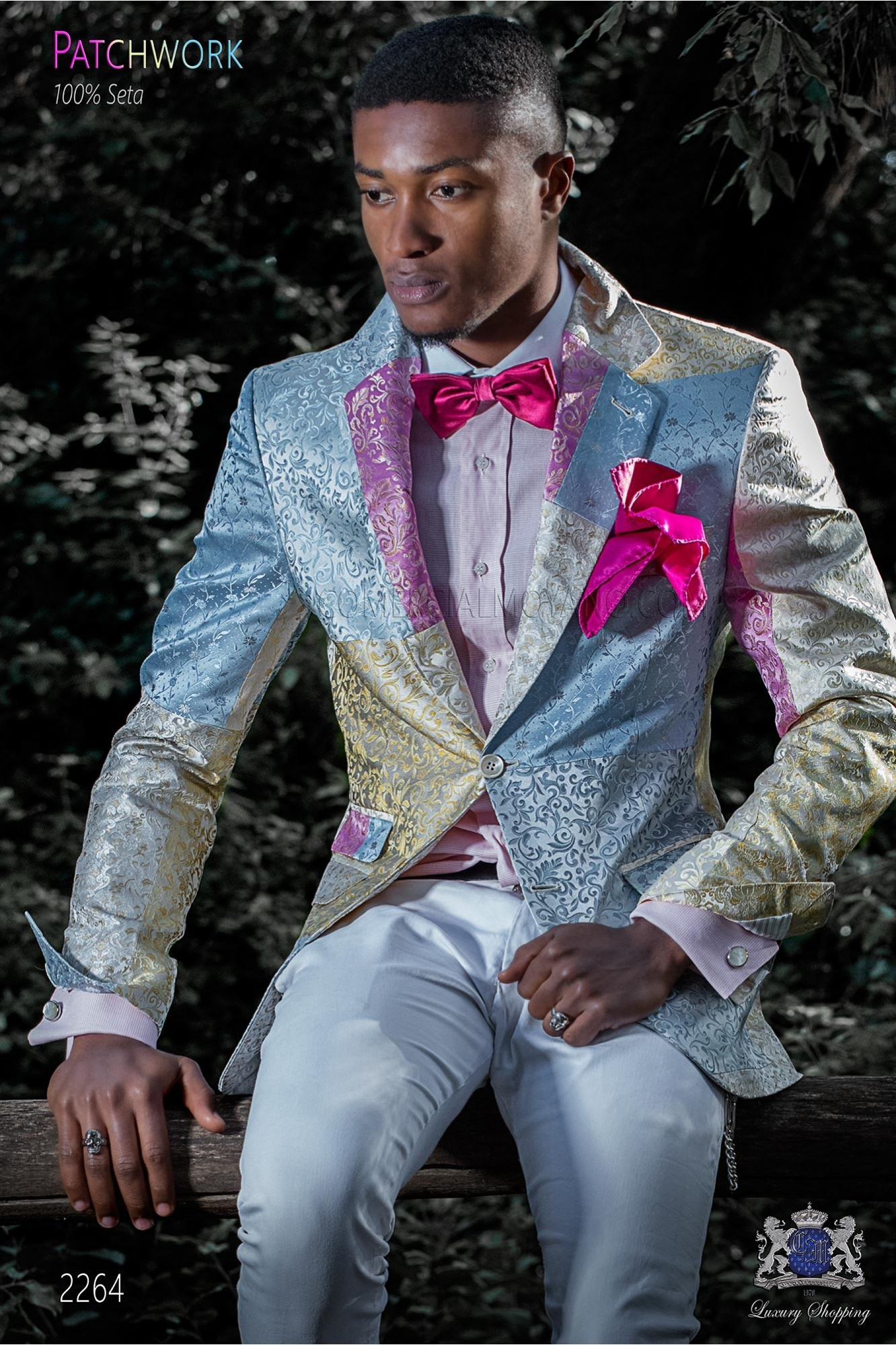 Italian patchwork jacket made of pure jacquard silk pastel colors