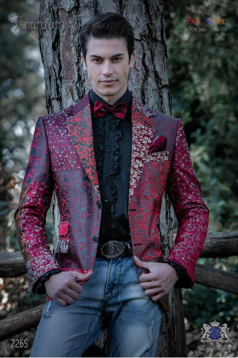 Italian patchwork jacket made of pure jacquard silk red tones