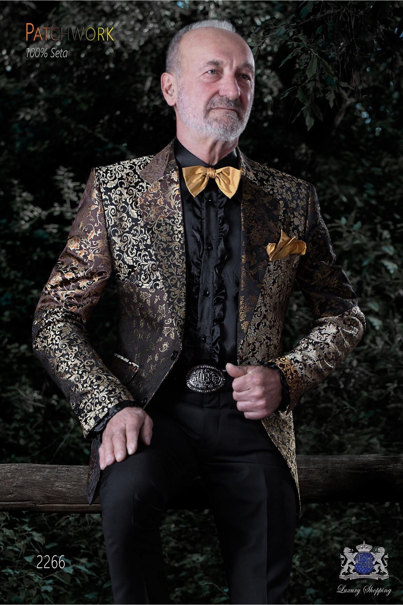 Americana patchwork italiana en jacquard de pura seda tonos oro y negro