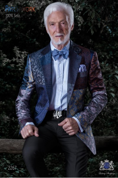 Italian patchwork jacket made of pure jacquard silk blue tones