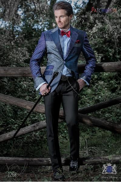 Americana patchwork italiana en jacquard de pura seda tonos azules