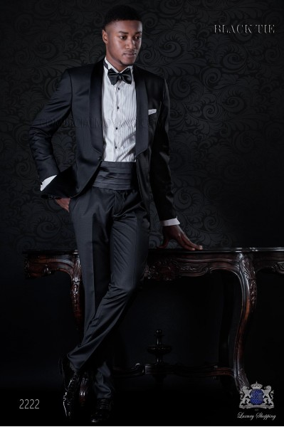 Italian bespoke cool wool tuxedo with satin shawl collar
