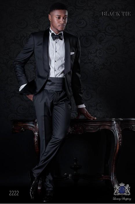 Italian bespoke cool wool tuxedo with satin shawl collar