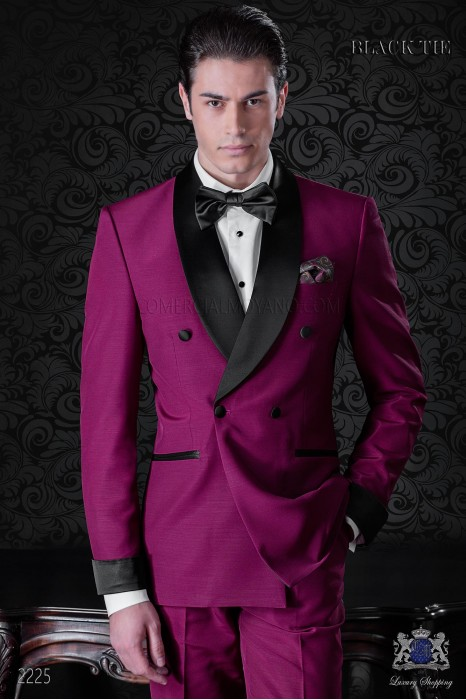Italian bespoke burgundy double breasted tuxedo