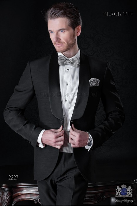 Bespoke black with satin shawl collar