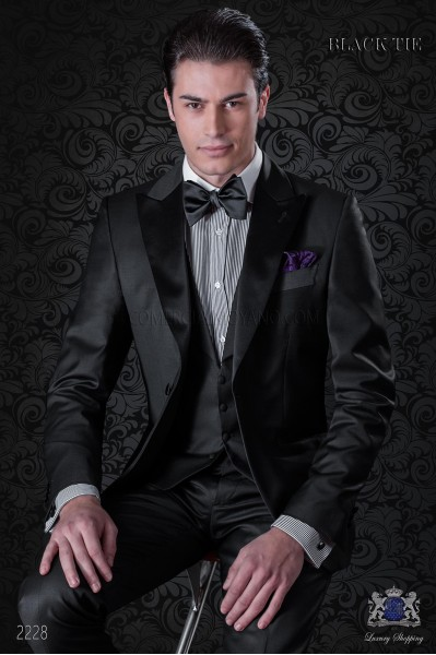 Italian bespoke black cool wool tuxedo with satin lapels