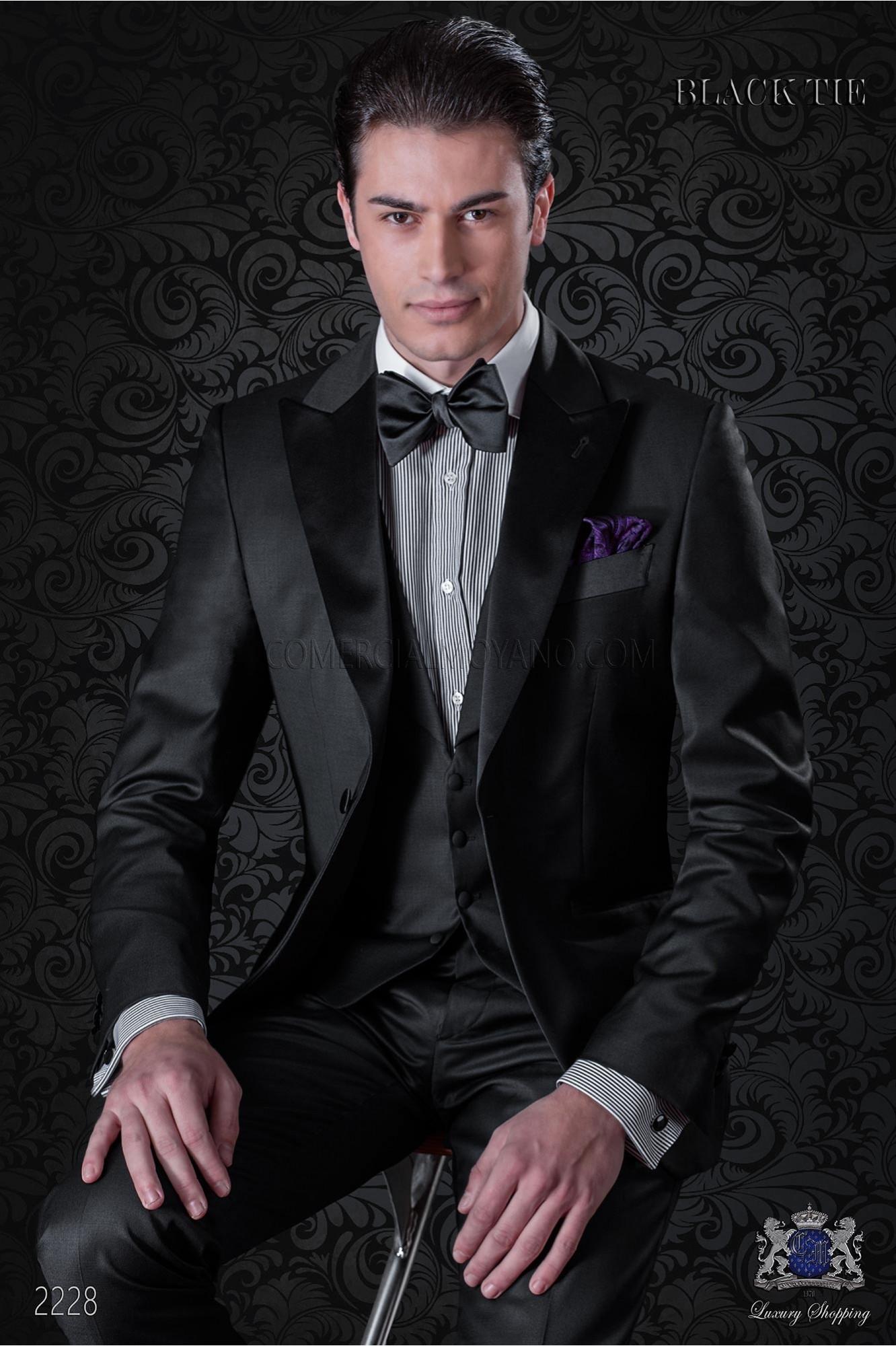 Esmoquin moderno italiano negro, tejido fresco pura lana