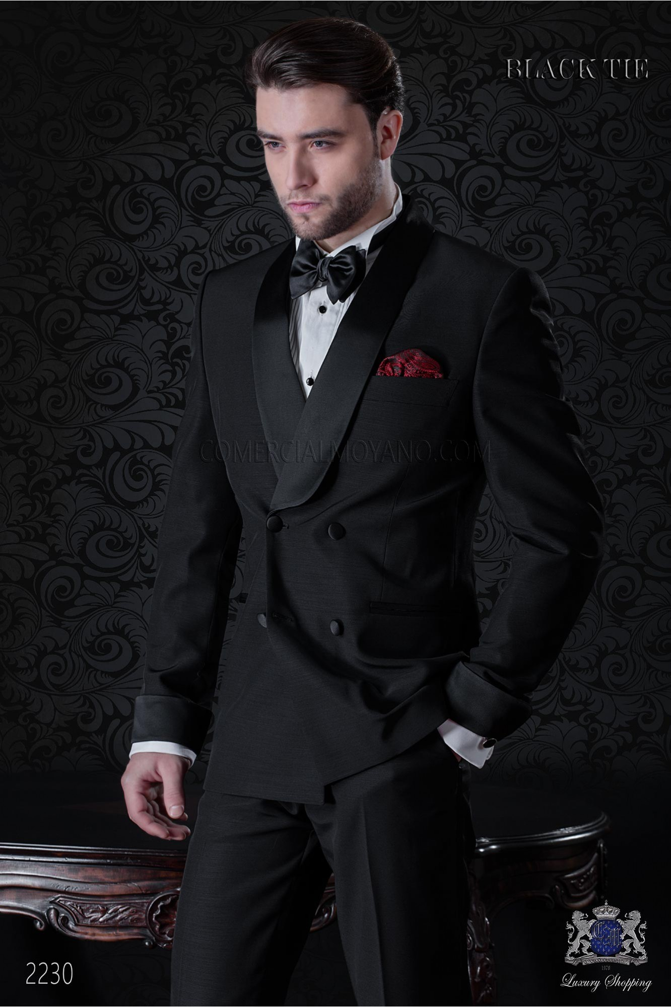 Italian double breasted black tuxedo with satin lapels. Wool mix fabric