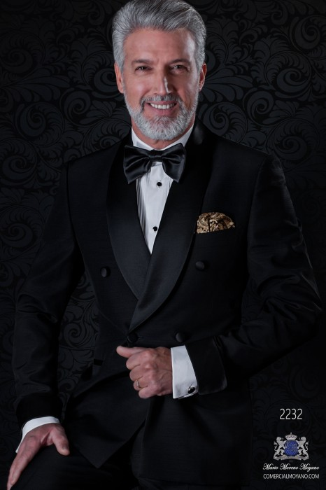 Italian double breasted black tuxedo with satin lapels. Shawl collar and 4 buttons. Wool mix fabric.