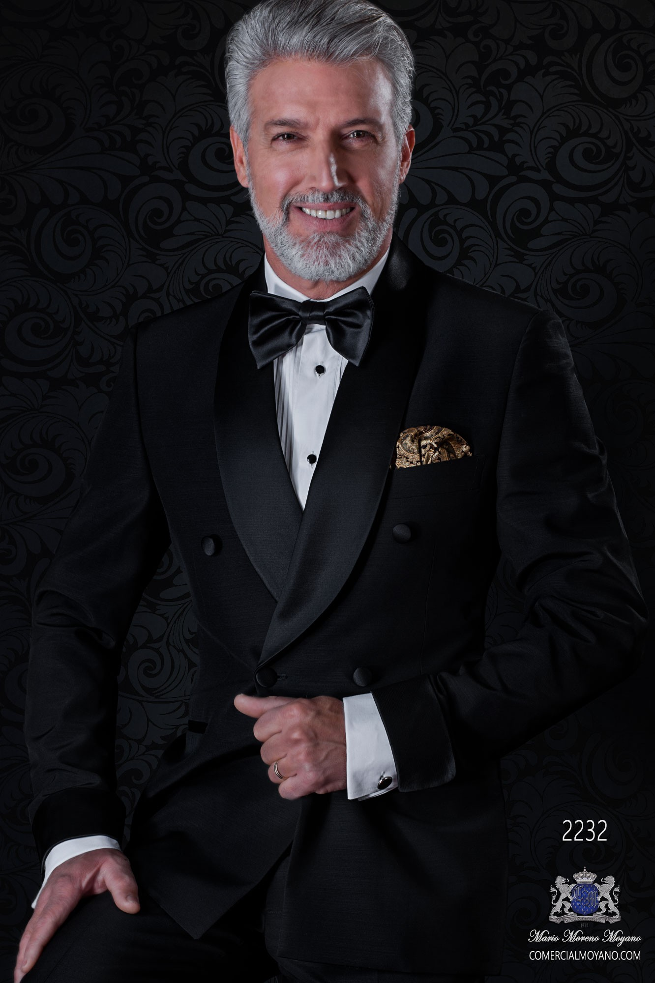 Italian double breasted black tuxedo with satin lapels. Shawl collar and 4 buttons. Wool mix fabric