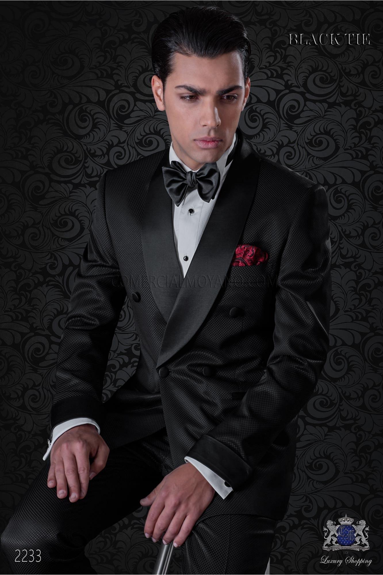italienisch zweireihig schwarze smoking anzug ottavio nuccio gala. Black Bedroom Furniture Sets. Home Design Ideas