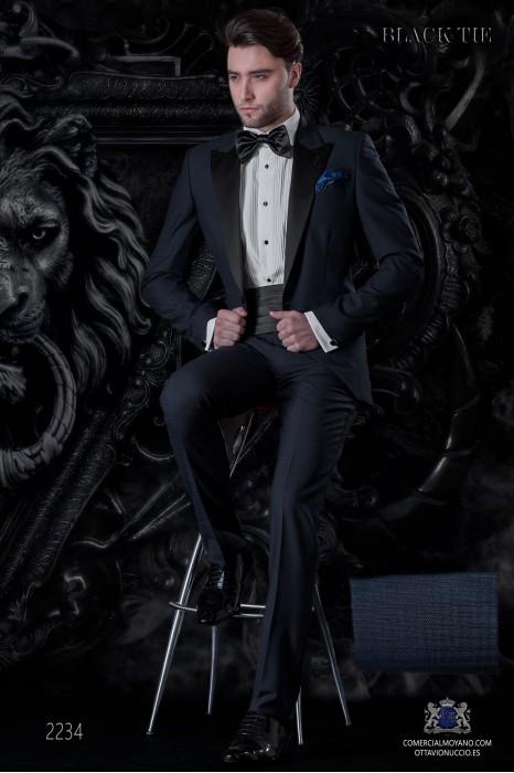 Italian bespoke pure wool over check blue tuxedo.