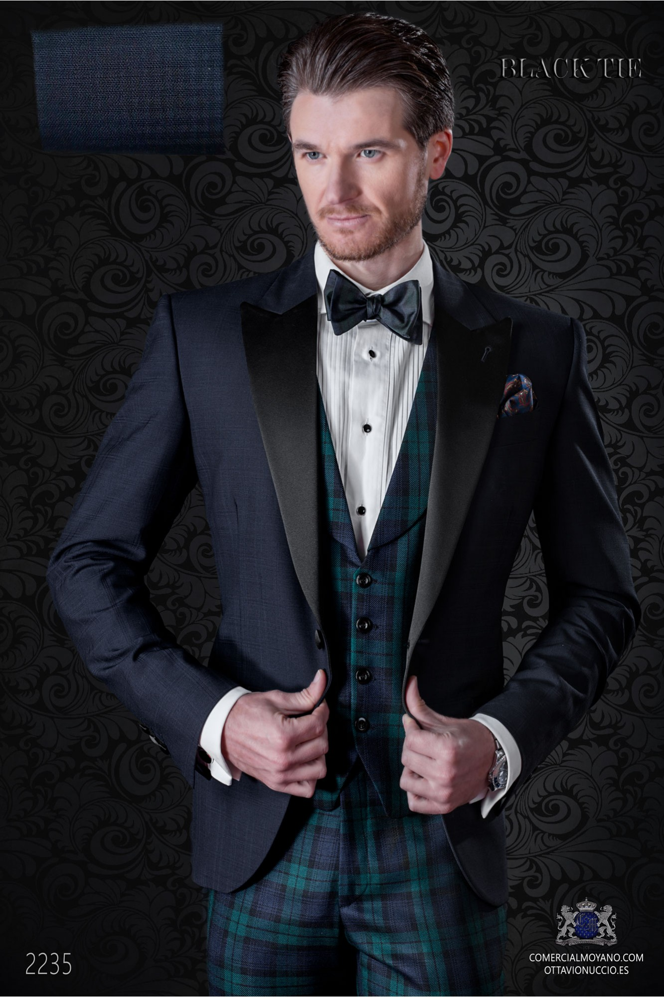 Italian bespoke pure wool over check blue tuxedo