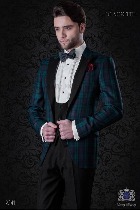 Italian tuxedo wool tartan blue and green Black Watch