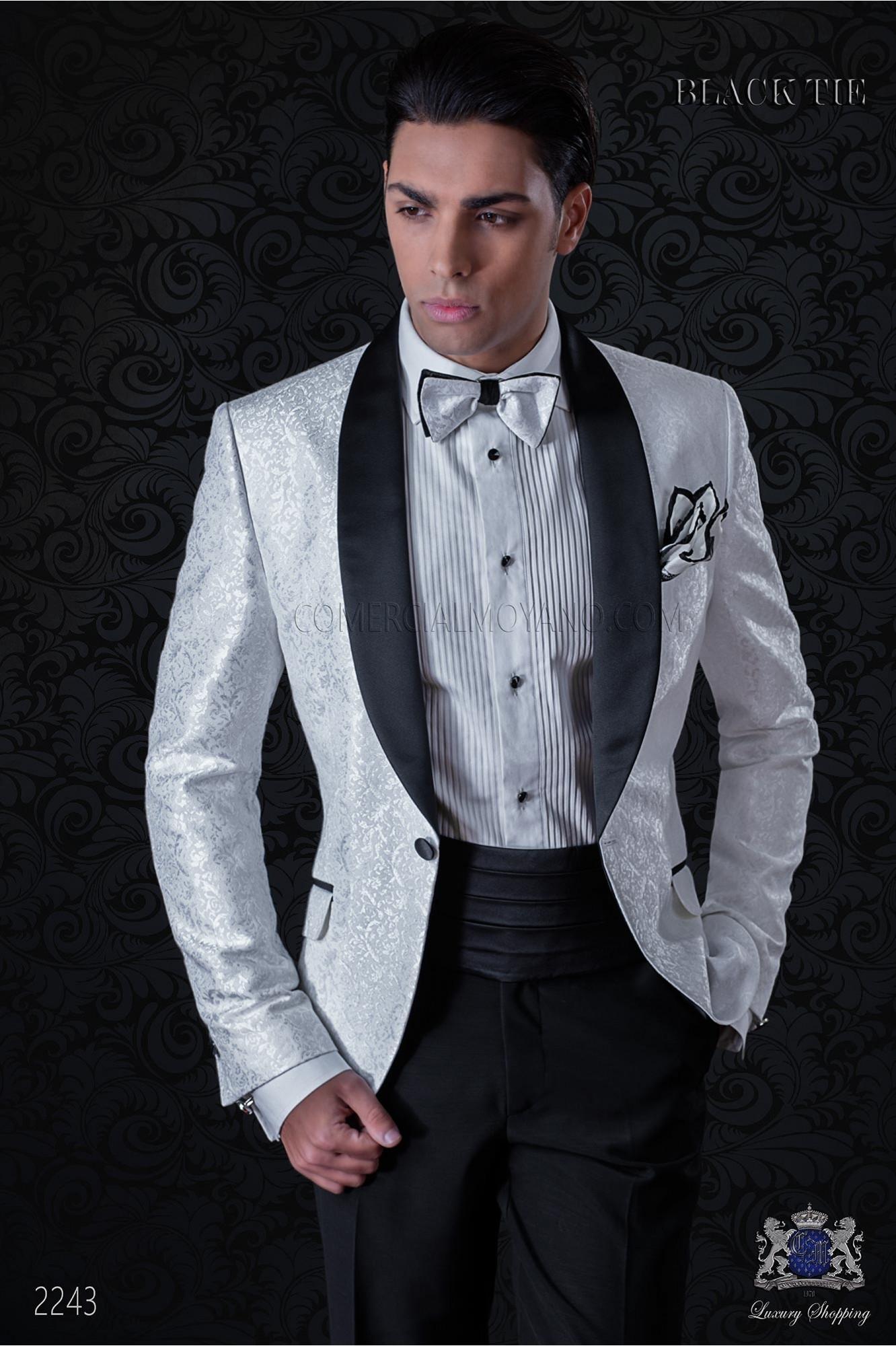 Esmoquin italiano de jacquard combinado blanco y negro en mixto seda