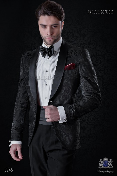 Bespoke black silk dinner jacket combined with a black trousers