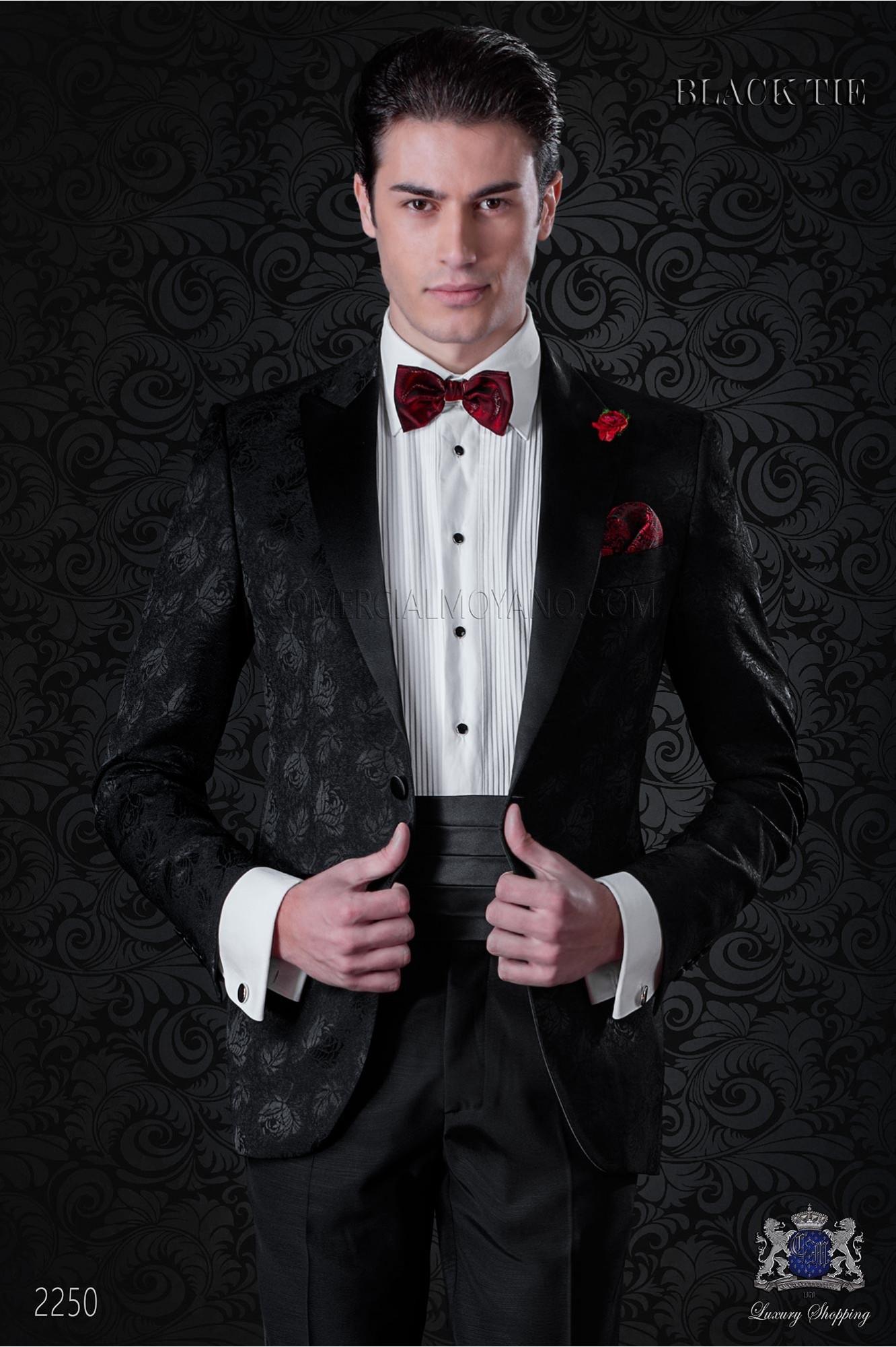 Italian bespoke wool silk black jacquard tuxedo