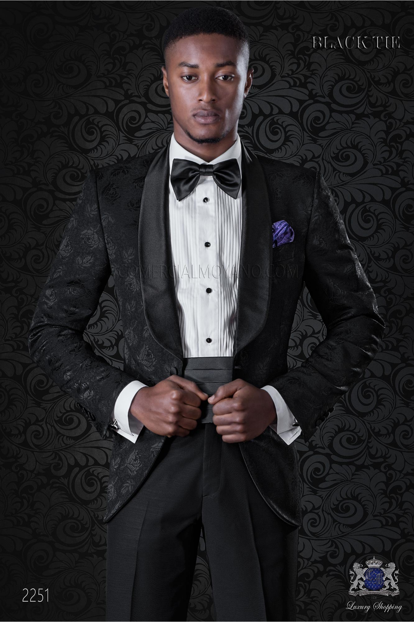 Italian bespoke wool silk black jacquard tuxedo combined with black trousers model 2251 Ottavio Nuccio Gala
