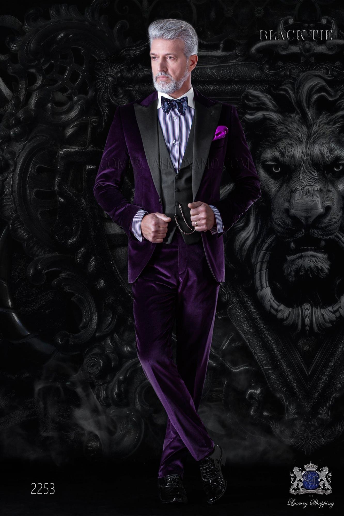 Italian bespoke purple velvet tuxedo