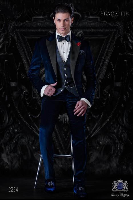 Italian bespoke blue velvet tuxedo