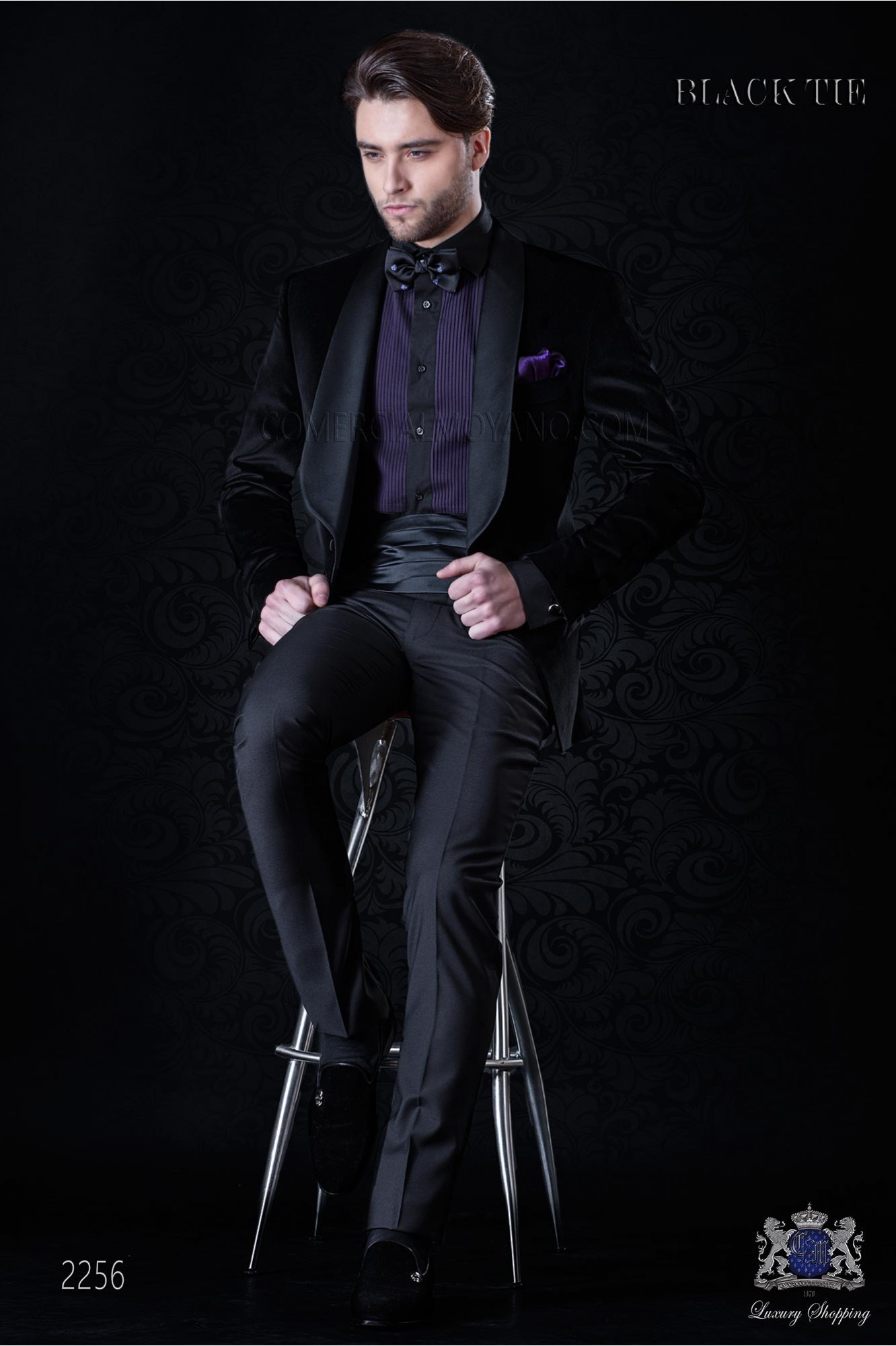 Italian velvet black tuxedo with satin lapels. Fabric velvet 100% cotton
