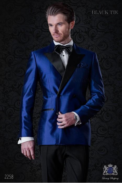 Italian bespoke double breasted royal blue shantung tuxedo