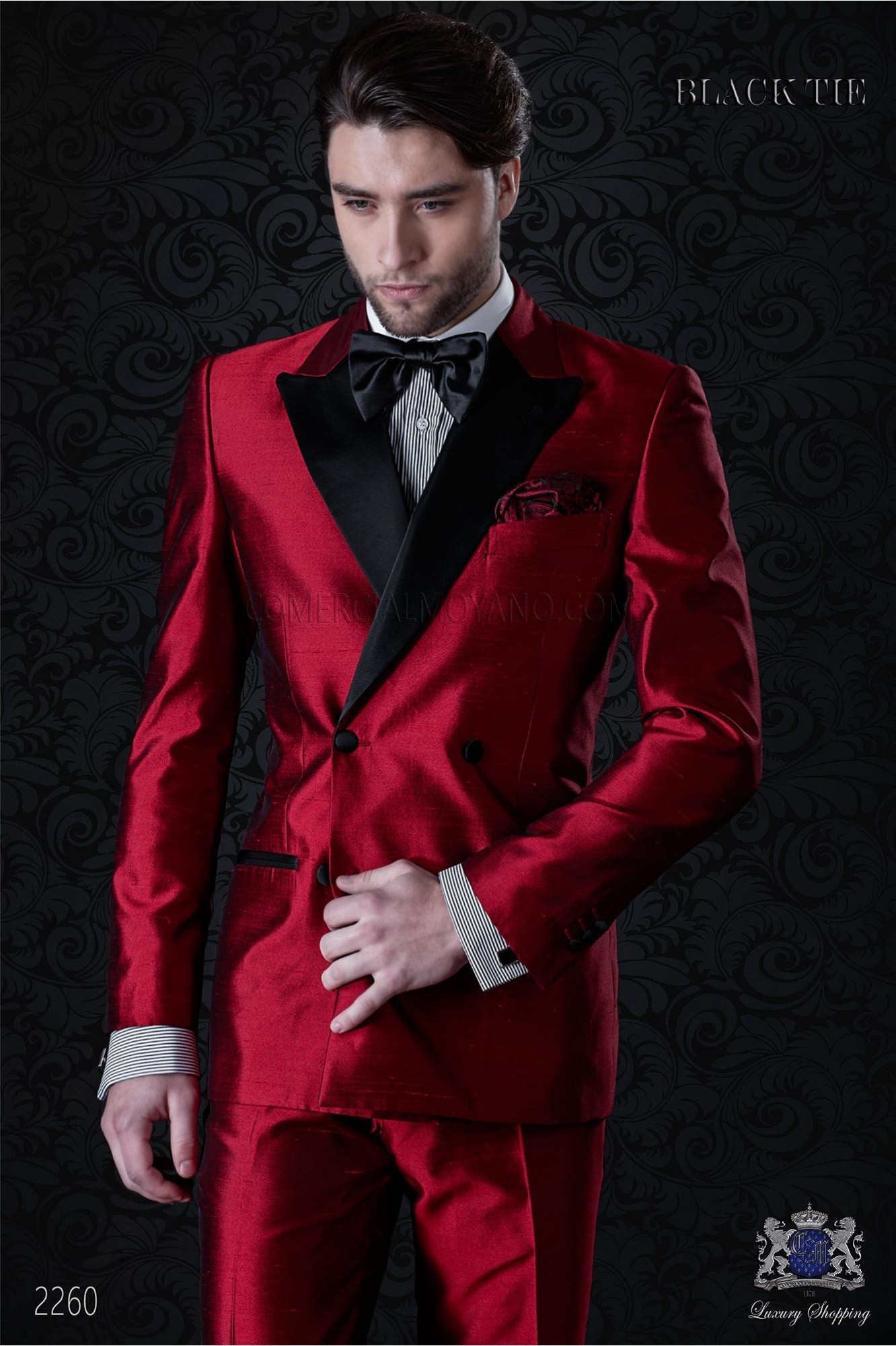 Tuxedo double breasted red shantung with satin lapels. Shantung silk mix fabric