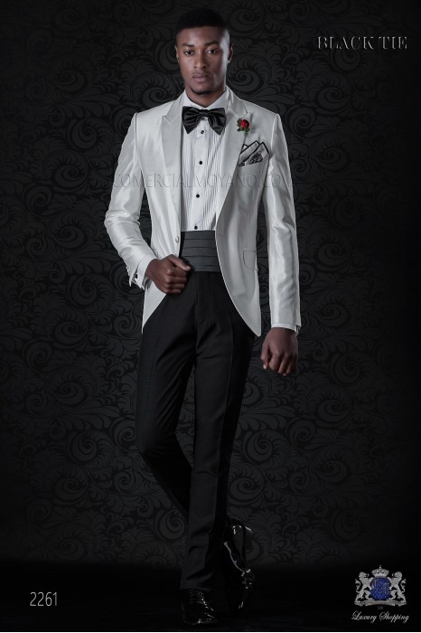 Bespoke white shantung dinner jacket