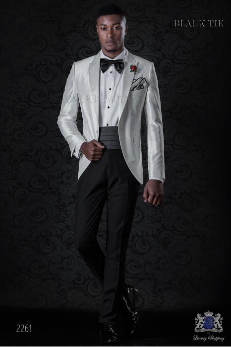 Bespoke white shantung dinner jacket