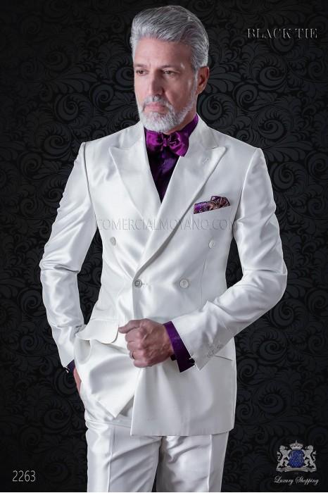 Bespoke white shantung double breasted jacket